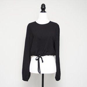 Aritzia Wilfred Eleanora Crop Blouse in Black